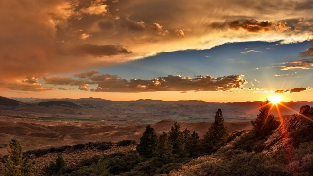 Idaho, horizontal, panoramic, Northwest, America, America Engagement, America Mini, Rocky Mountain Wilderness, The West, landscape, scenic, nature, lost river range, mountains, sunset, rainbow, clouds, thunder shower, mountain light, rain, weather